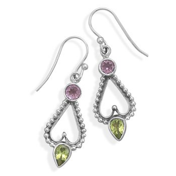 Amethyst and Peridot Earrings