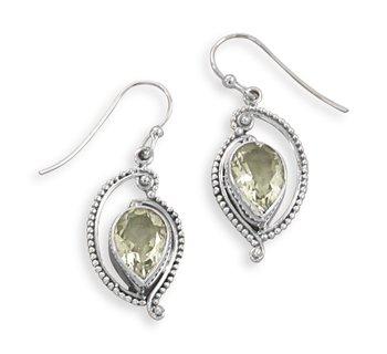 Green Amethyst French Wire Earrings