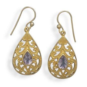 14 Kt Gold Plated Amethyst Earrings