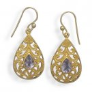 14 Kt Gold Plated Amethyst Earrings