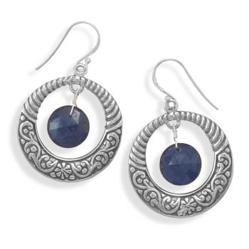 Earrings with Sapphire Drop