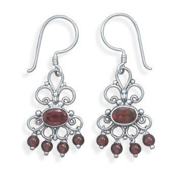 Scroll Design Earrings with Garnet