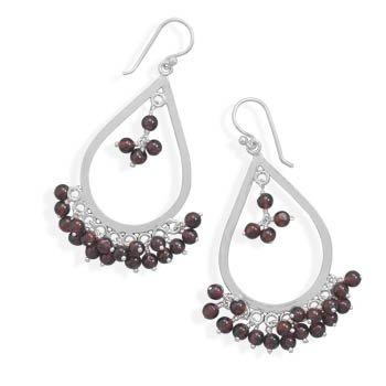 Garnet Bead Drop Earrings