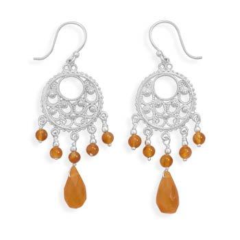 Ornate Earrings with Carnelian Beads