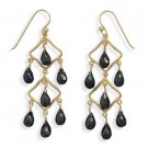 14 Kt Gold Plated Black Spinel Earrings