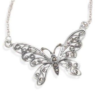 Marcasite Butterfly Necklace