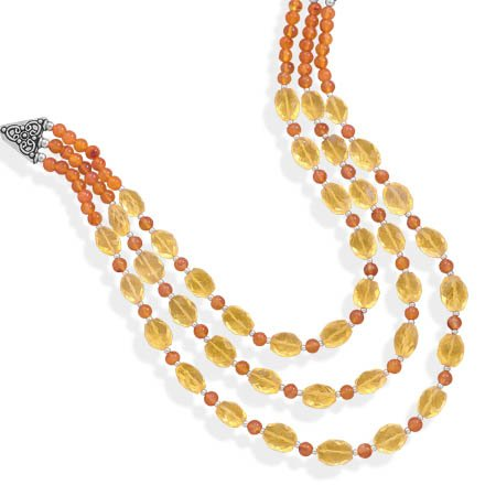 Multistrand Carnelian and Citrine Necklace