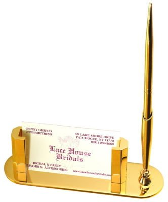Gold Plated Card Holder With Pen