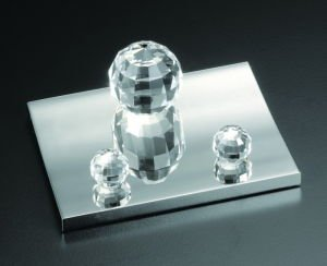 Crystal and Silver Tone Business Card Holder