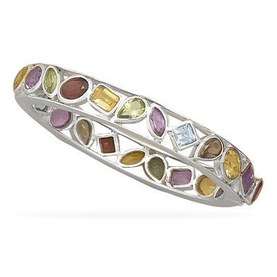 Multi Stone Hinged Bangle