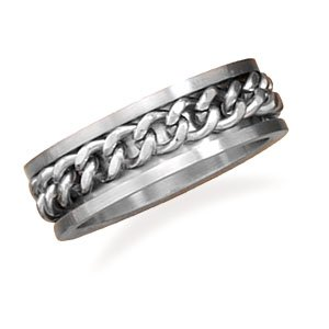 Ring with Curb Chain Center
