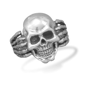 Oxidized Skull Ring