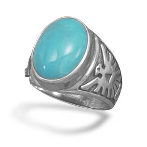 Turquoise Ring with Thunderbird Design