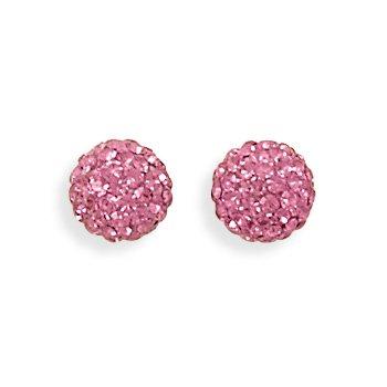 Pink Crystal Ball Earrings