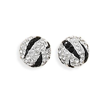Black and White Crystal Ball Earrings