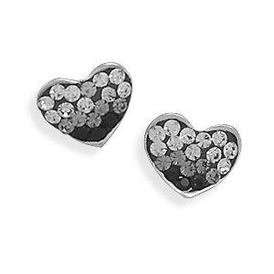 White and Black Crystal Heart Earrings