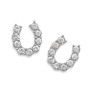 CZ Horseshoe Post Earrings