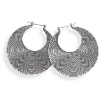 Oxidized Lined Hoop Earrings