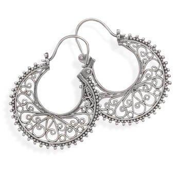 Ornate Bead and Scroll Hoop Earrings