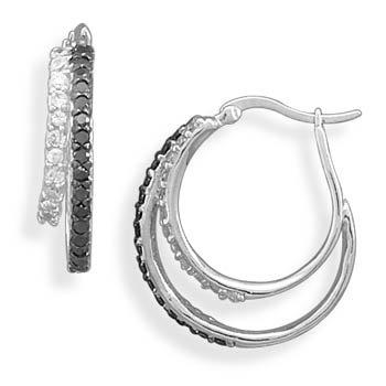 Black and White CZ Hoop Earrings