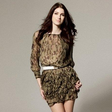 Leopard Silk Dress - L