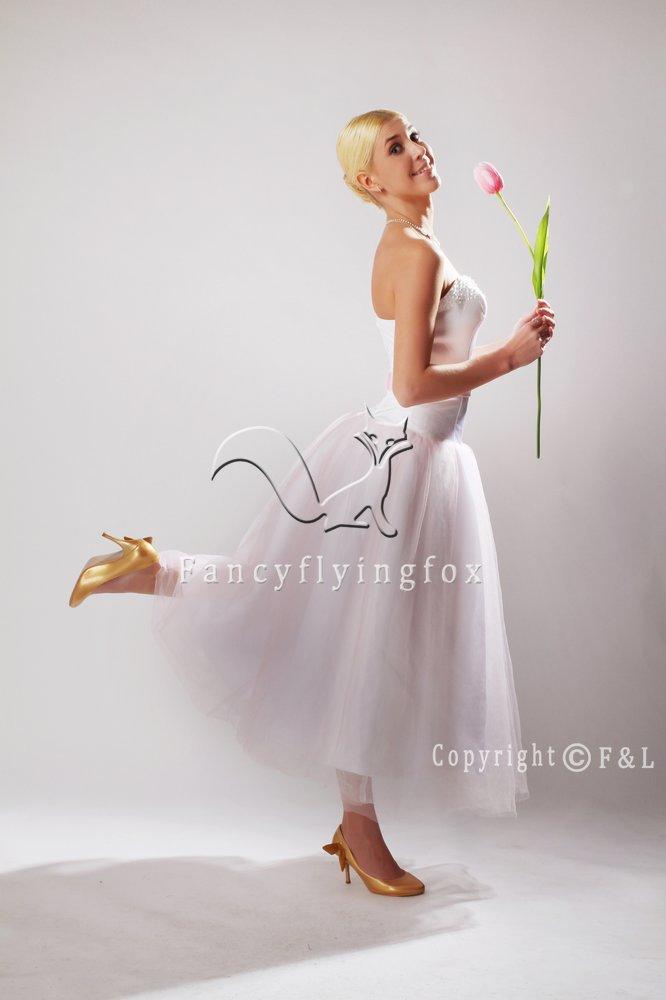 Cheap Tea Length Tulle Short Bridal Gown 25587