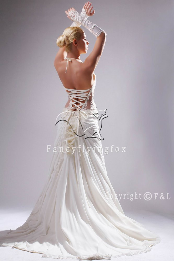 Halter Sexy Semi-Cathedral train Summer Wedding Dress 25594