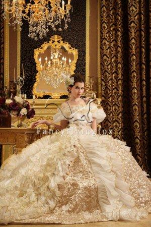 2013 Luxurious Champagne Gothic wedding dresses PRO2