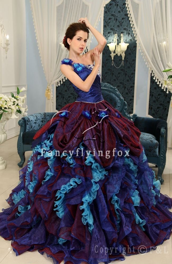 Purple and Blue Exquisite Ball Gown Colorful Quinceanera Dress 006