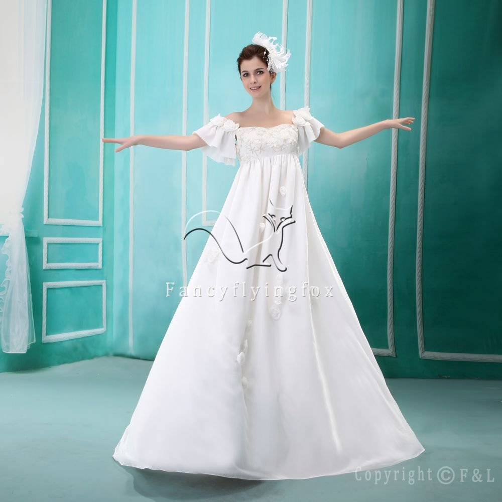 Romantic Maternity Wedding Dress with Short Sleeves H001