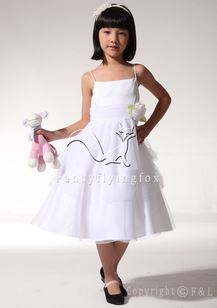 White 014 Short Unique Flower Girl Dress