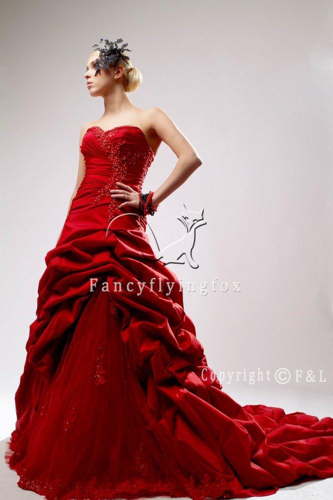 2011 fashion red plus size wedding dress 012