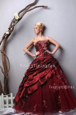 Burgundy Plus Size Quinceanera Gown Dress 6501WF