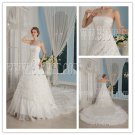 2013 retro white lace strapless ball gown floor length wedding dress with royal train IMG-9304