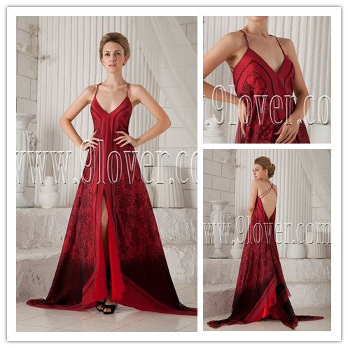 sexy and modern spaghetti straps a-line floor length evening dress IMG-9838