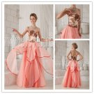 sweet coral chiffon strapless column bridemaid dress with embroidery IMG-9855