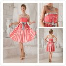 lovely colral satin strapless a-line mini length homecoming dress with sash IMG-9869
