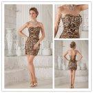 sexy leopard satin strapless sheath mini length short evening dress IMG-9883