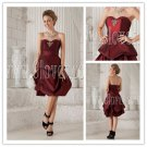 burgundy taffeta strapless a-line knee length short prom dress IMG-9896