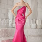 fuchsia satin strapless a-line floor length bridemaid dress with beaded neckline IMG-9440