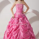 classic hot pink taffeta strapless ball gown floor length quinceanera dress with pleats IMG-1396
