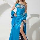 sexy blue satin strapless a-line floor length evening dress with split skirt IMG-1409