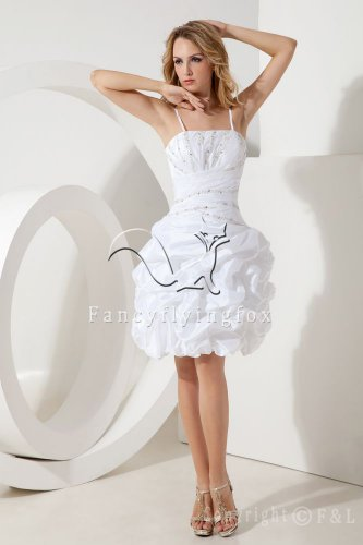 modern white taffeta spaghetti straps ball gown mini length short prom dress IMG-1989