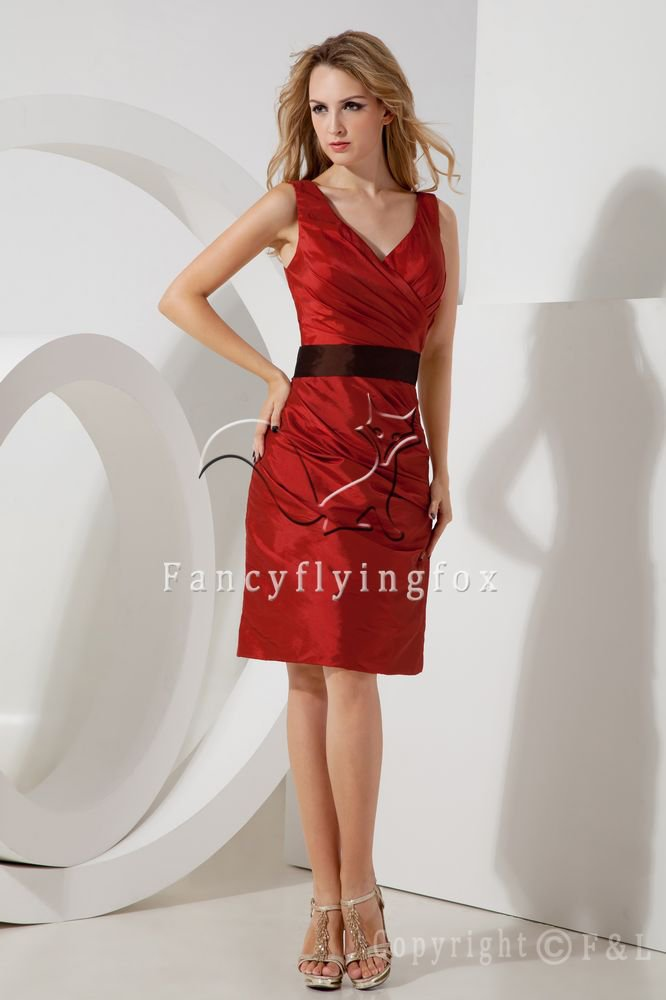 elegant red and black satin v-neck a-line knee length mother of the bride dress IMG-2000