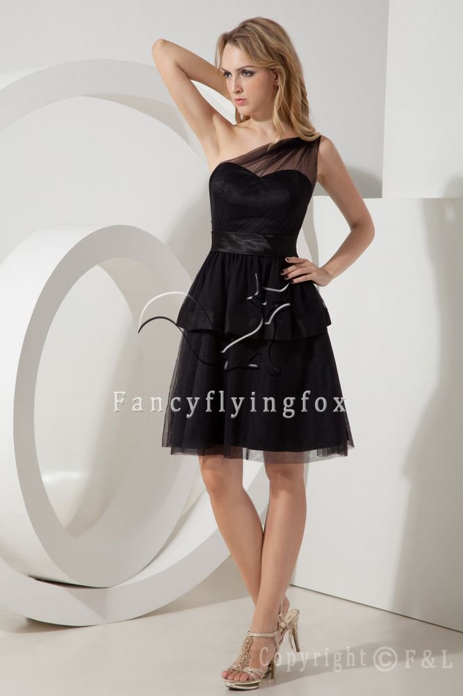 modest black net one shoulder a-line knee length mother of the bride dress IMG-2149