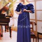 elegant royal blue chiffon short sleeves a-line floor length mother of the bride dress 2011Y-88
