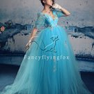 classic ice blue net v-neck short sleeves ball gown floor length quinceanera dress 2011Y-339