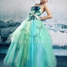 vintage royal strapless ice blue organza ball gown floor length quinceanera dress 2011Y-343