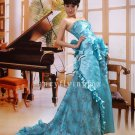 elegant strapless ice blue satin a-line floor length evening dress 2011Y-354