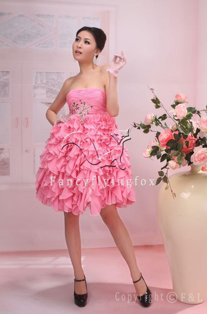 sweet pink chiffon summer skirt knee length short evening dress 370